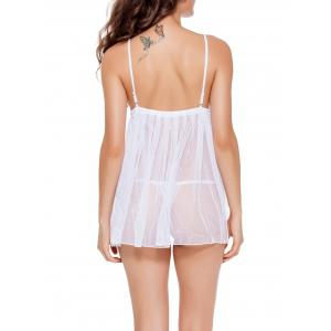 See-Through Backless Mesh Babydoll -