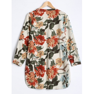 Flowers Print Buttoned Loose Blouse -