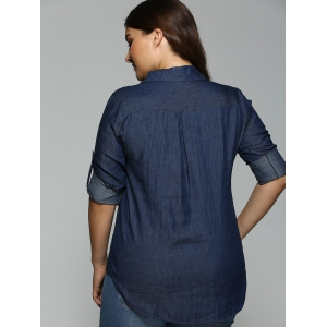 Plus Size Button-Down Dark Denim Shirt - DEEP BLUE 5XL