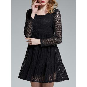 Mini Hollow Out Lace Dress -