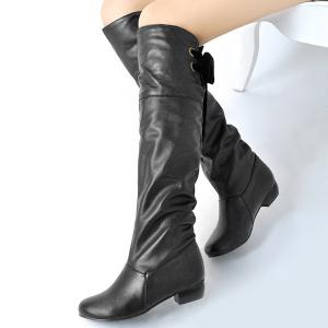 Tie Up Flat Heel PU Leather Knee High Boots - BLACK 41