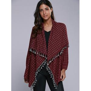 Plaid Tassel Cardigan -