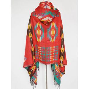 Winter Ethnic Style Fringe with Hat Poncho - RED