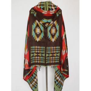 Winter Ethnic Style Fringe with Hat Poncho - OLIVE GREEN
