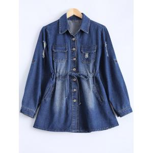 Button Down Denim Casual Shirt Dress - BLUE XL