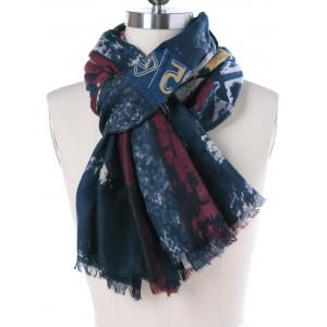 Autumn Numbers Pattern Tie-Dyed Fringed Scarf -