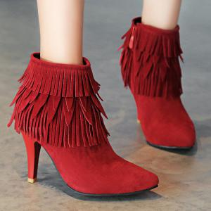 Stiletto Heel Fringe Zipper Boots -