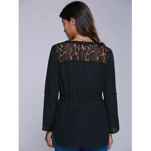Lace Insert High Low Hem Blouse -