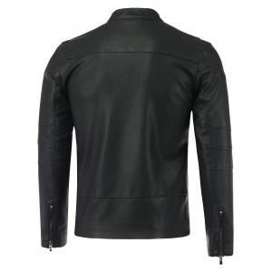 Stand Collar Causal Zip-Up PU-Leather Jacket -