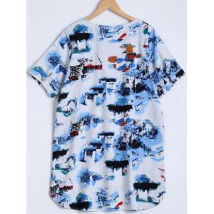 Ink-Painting House Print Furcal Blouse -