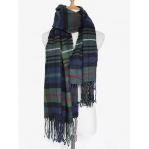 Simple Double Color Plaid Fringe Knitted Wrap Scarf - OLIVE GREEN