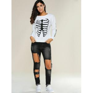 Skinny Cut Out Pencil Jeans -