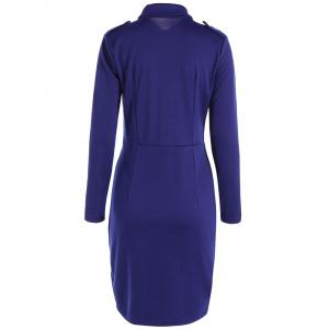 Buttoned Long Sleeve Sheath Dress - DEEP BLUE 2XL
