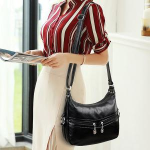 Metal Faux Leather Crossbody Bag -