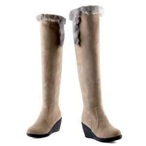 Zipper Faux Fur Platform Thigh Boots - LIGHT CAMEL 43
