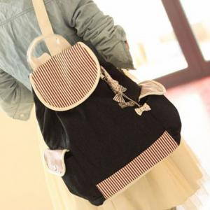Color Block Flap Canvas Backpack -