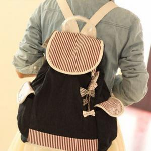 Preppy style Striped Drawstring Canvas Backpack -