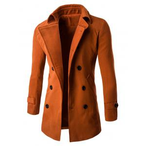 Slim Fit Double Breasted Wool Blend Coat - BRICK RED 2XL