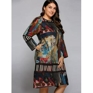 Plus Size Oil Painting Long Sleeve Dress - COLORMIX ONE SIZE