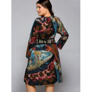Plus Size Oil Painting Long Sleeve Dress -