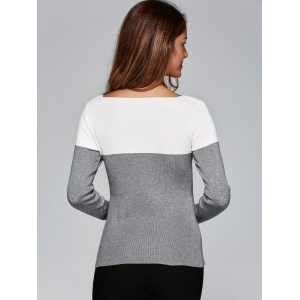 Two Tone High Low Front Slit Knitwear - GRAY ONE SIZE