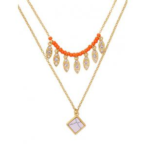 Layered Natural Stone Beaded Leaf Necklace -