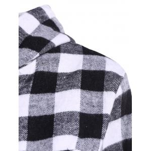 Casual Long Sleeve Hooded Plaid Check Shirt - GRAY 2XL