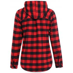 Casual Long Sleeve Hooded Plaid Check Shirt - RED 2XL