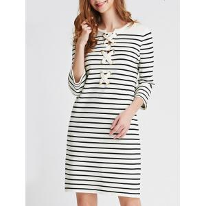 Lace Up Striped Knit Dress -