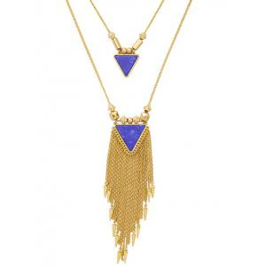 Layered Triangle Faux Stone Fringe Necklace -