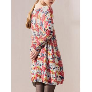 Color Block Star Print Bat Sleeve Knit Dress -