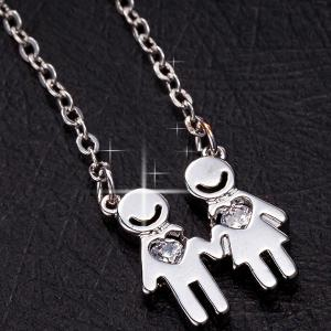 Smile Lover Heart Rhinestone Necklace - SILVER
