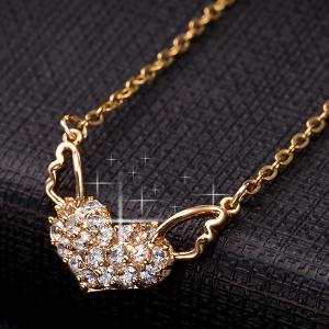 Heart Angel Wings Rhinestone Necklace -
