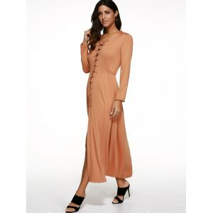 Long Sleeve Lace-Up Maxi Dress - PASTER ORANGE L
