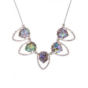 Rhinestone Faux Stone Geomrtric Necklace -