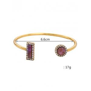 Natural Stone Rectangle Round Bracelet -