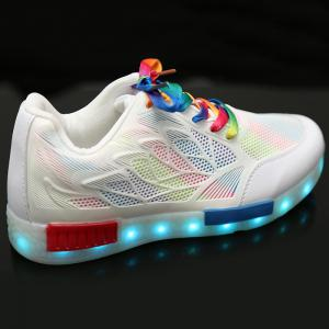 Led Luminous Colored Shoelace Hollow Out Sneakers -