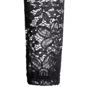See Through Cold Shoulder Lace Club Skater Dress - BLACK ONE SIZE