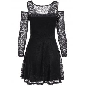 Cold Shoulder See Through Long Sleeve Lace Skater Mini Dress -