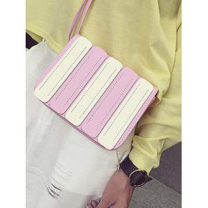 Color Spliced Stitching Covered Closure Crossbody Bag -