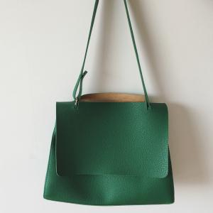 Casual Textured PU Leather Shoulder Bag - GREEN
