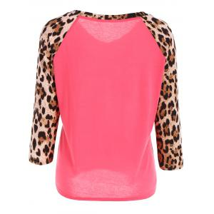 Leopard Print Raglan Sleeve Tee - LIGHT RED L