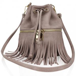 Metallic Zip Fringe Crossbody Drawstring Bag -