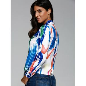 Bow Neck Print Front Knot Shirt -