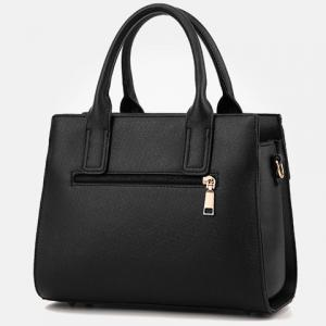 Letter Embossed Striped PU Leather Handbag - BLACK