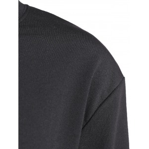 Crew Neck Cropped Sweatshirt - BLACK ONE SIZE