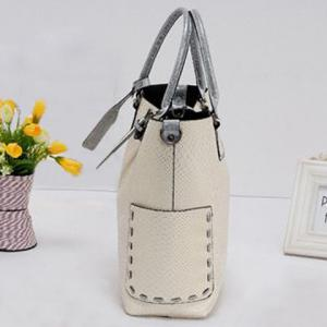 Stitching Buckle Snake Embossed Tote -