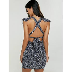 Backless Printed Skater Dress - BLUE XL