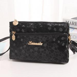 Stone Pattern Multi Zips PU Leather Clutch Bag - BLACK