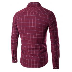 Long Sleeve Grid Button-Down Shirt - WINE RED 3XL